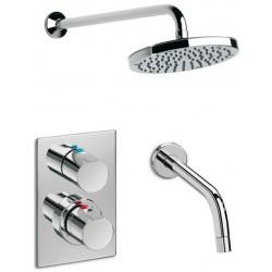 Mezclador termostático de baño ducha empotrable con rociador y caño bañera ELEMENT cromado . Roca
