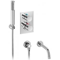 Mezclador termostático baño ducha empotrable con ducha, teléfono y caño bañera ELEMENT cromado . Roca