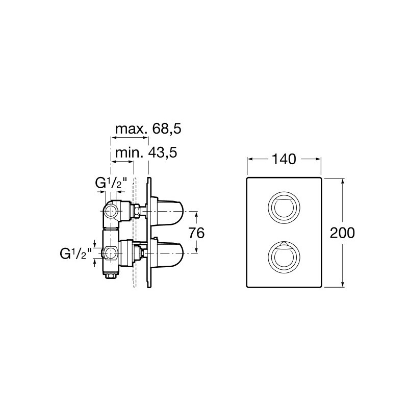 Mezclador termostatico de ba o ducha empotrable de 1 2 3 for Mezclador para ducha grival