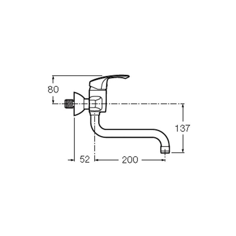 Monomando de pared fregadero con ca o bajo giratorio for Fregadero para lavadero