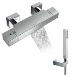 Mezclador termostático de baño ducha con cascada y equipo de ducha CUADRO-TRES cromado Ref: 1071749 . Tres