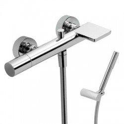 Monomando de baño ducha con pomo y caño cascada MAX-TRES Ref: 06117001 cromado. Tres