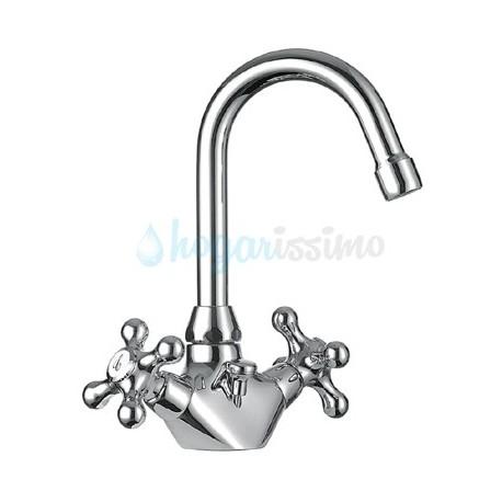 Monobloc de lavabo caño giratorio CLASIC-TRES CERAMIC cromado Ref: 132104 . Tres