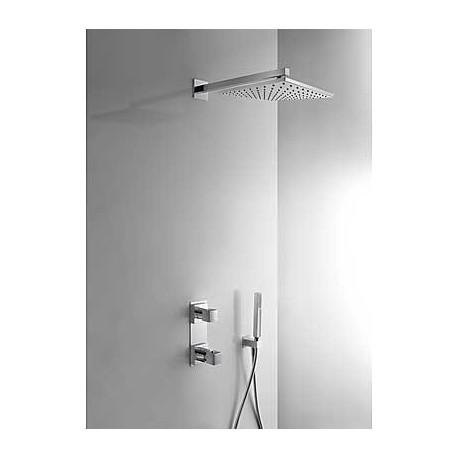 Kit de ducha termostático empotrado CUADRO-TRES cromado . Tres