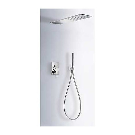 Kit de ducha con monomando empotrado MAX-TRES con rociador de 160 x 550 mm cromado . Tres