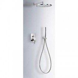 Kit de ducha con monomando empotrado MAX-TRES con rociador redondo de 300 mm cromado . Tres