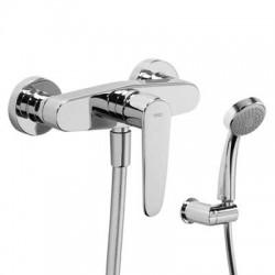 Monomando de ducha con equipo FLAT-TRES cromado. Tres