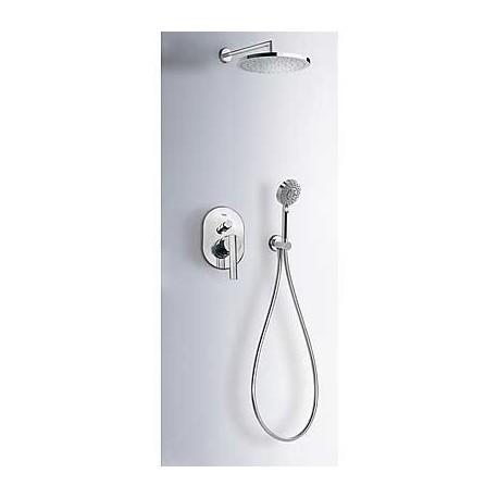 Kit de ducha empotrado LEX-TRES con cierre y regulador de caudal cromado . Tres