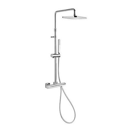 Conjunto de ducha Termostática LOFT-TRES con ducha fija de 220 x 220 mm cromado . Tres