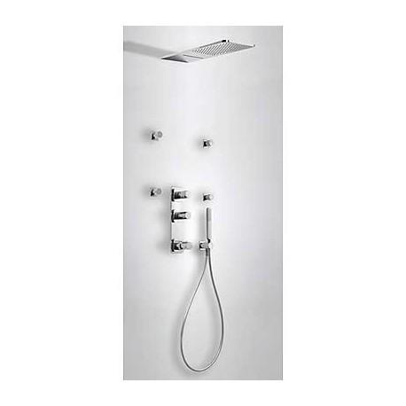Kit de ducha termostático empotrado LOFT-TRES con cierre y regulador de caudal 4 vías. Tres