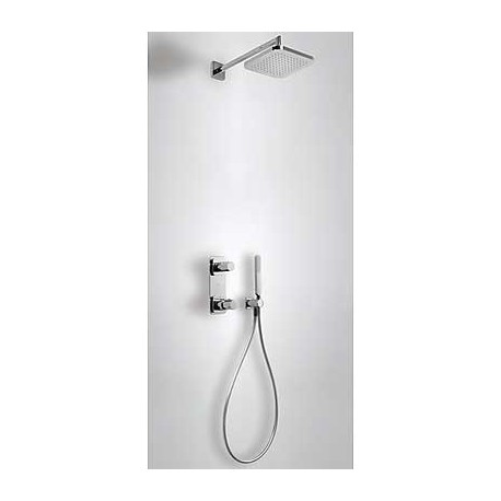 Kit de ducha termostático empotrado LOFT-TRES con ducha fija 220 x 220 cromado . Tres