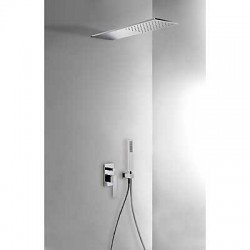 Kit de ducha con monomando empotrado SLIM-TRES con rociador cromado . Tres