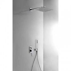 Kit de ducha con monomando empotrado SLIM-TRES y con rociador de 320 x 220 mm . Tres