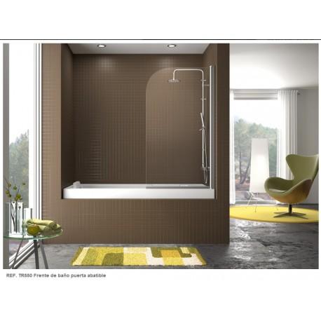 Mampara frontal bañera serie 300 TR550 de una puerta abatible reversible cristal transparente . Kassandra