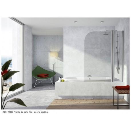Mampara frontal de bañera serie 300 TR553 uno fijo + una puerta abatible reversible cromo transparente . Kassandra