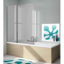 Mampara frontal de bañera serie 300 TR563 uno fijo + una puerta abatible cristal transparente . Kassandra
