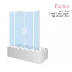 Mampara frontal de bañera DAILAN 2 fijoS 2 puertas correderas ref: DA150 de 170 blanca cristal serigrafía líneas
