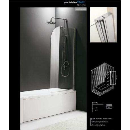Mampara panel de cristal transparente para bañera derecha modelo TITAN 1 Ref: 0030 . GME