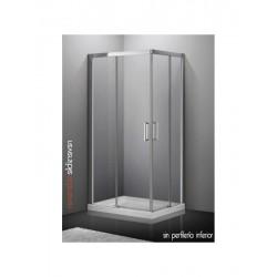 Mampara angular para ducha AKTUAL entrada al vértice de 1000 x 800 mm cristal transparente . GME