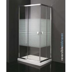Mampara angular para ducha modelo TITAN apertura vértice de 100 x 70 cristal trazos Ref: 0483+0480 . GME