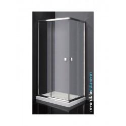 Mampara angular para ducha modelo TITAN apertura vértice de 90 x 90 cristal transparente Ref: 0472+0472 . GME
