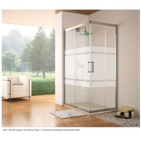 Mampara angular rectangular de ducha serie 300 Ref: TR105 de 120 x 70 serigrafía BALI. Kassandra