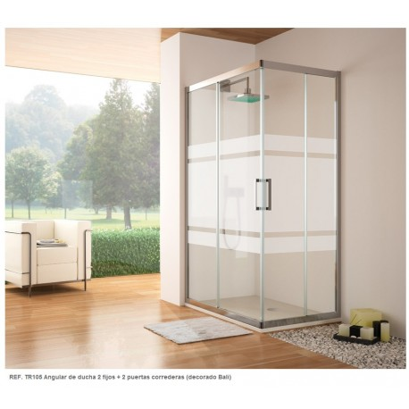 Mampara angular rectangular de ducha serie 300 Ref: TR105 de 120 x 80 serigrafía BALI . Kassandra
