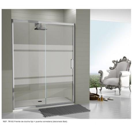 Mampara frontal de ducha serie 300 Ref: TR100 de 174 - 180 cristal serigrafía BALI . Kassandra
