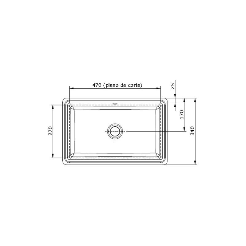 lavabo rectangular de bajo encimera modelo agres unisan