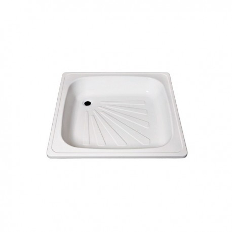 Plato de ducha de plancha esmaltada 80 hondo blanco . Practic
