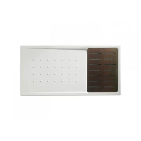 Plato de ducha de porcelana modelo MALTA WALK-IN de 1400 x 70 x 80 blanco tarima WENGUE . Roca