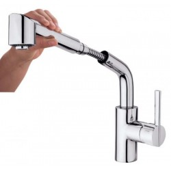 Monomando vertical con ducha extraíble BIGGER ETERNAL cromado . Grober