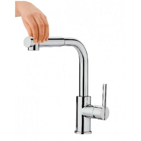 Monomando vertical con ducha extraíble recta ETERNAL cromado . Grober