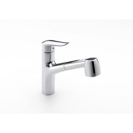 Mezclador para cocina con caño extraíble giratorio y función ducha para aclarado LOGICA-N . Roca