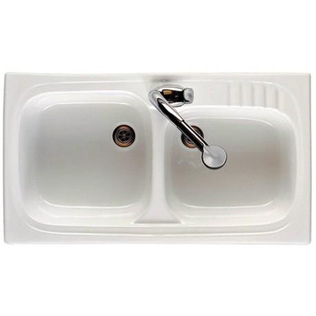 Fregadero de gres modelo LEMAN gres de 2 senos de 80 x 50 blanco . Roca