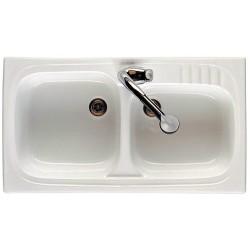 Fregadero de gres modelo LEMAN gres de 2 senos de 90 x 50 blanco . Roca
