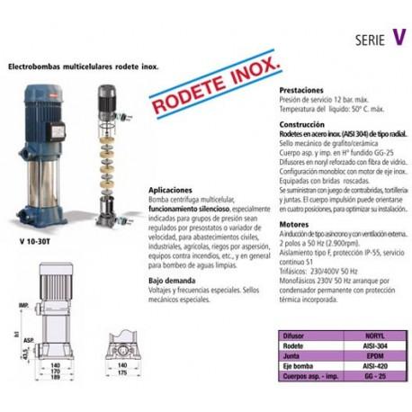 Electrobomba centrífuga multicelular vertical tipo V 20T de 2 CV y 1.5 KW con rodete inoxidable . Bloch