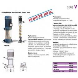 Electrobomba centrífuga multicelular vertical tipo V 30T de 3 CV y 2.2 KW con rodete inoxidable . Bloch