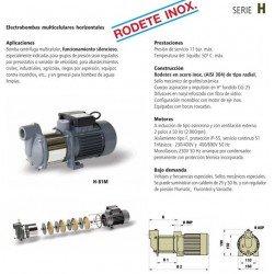 Electrobomba multicelular horizontal rodete en AISI 304 tipo H 101M de 1 CV . Bloch