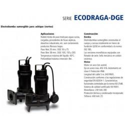 Electrobomba sumergible para achique ECODRAGA tipo DGE 150MG de 1.5 CV y 1.1 KW . Bloch
