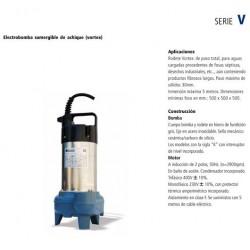 Electrobomba sumergible para achique tipo V 75K de 0.75 CV y 0.55 KW monofásica con boya nivel. Bloch
