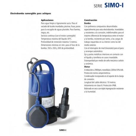 Electrobomba sumergible para achique y aguas residuales SIMO-I de 0.30 CV y 0.22 KW . Bloch