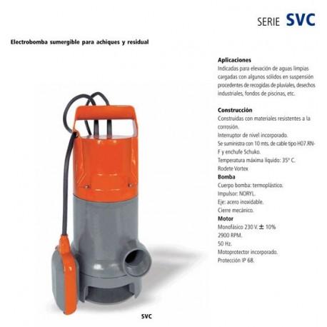 Electrobomba sumergible para achique y aguas residuales SVC 900 de 1 CV y 0.75 KW . Bloch