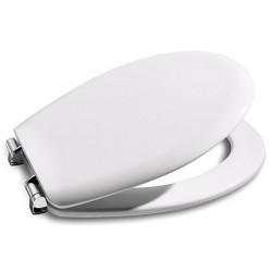 Asiento para inodoro con las bisagras de acero modelo VICTORIA blanco . Roca