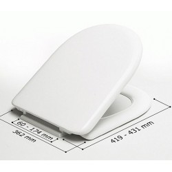 Asiento WC modelo MILOS blanco y bisagras (BR) . Estoli