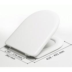 Asiento WC modelo MILOS blanco y bisagras A36P - Acero inox . Estoli